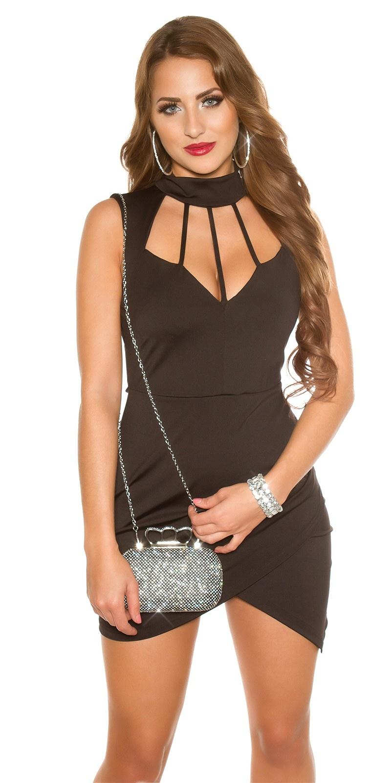Sexy halter mini jurkje met decollete zwart