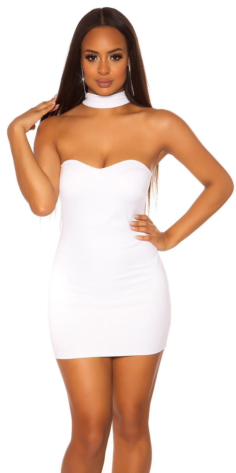 Sexy halter bandeau jurk wit
