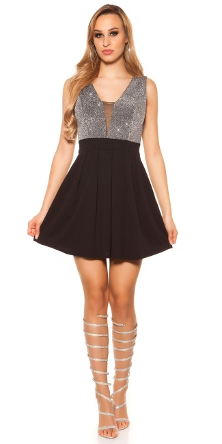 Sexy Party Glitterdress V-Cut Silver