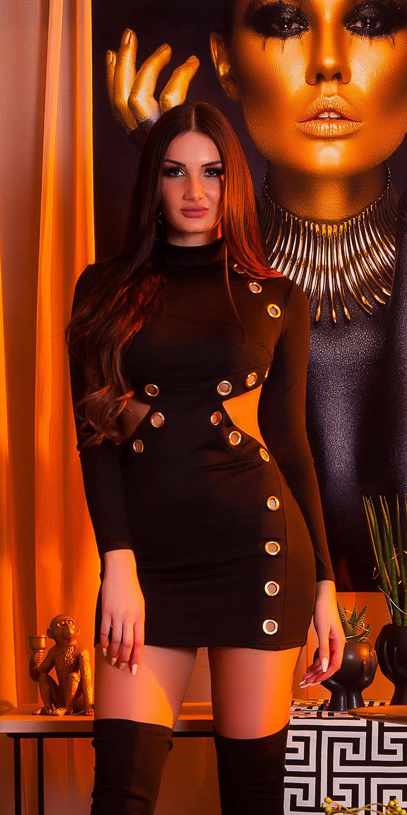 Sexy jurk met xxl oogjes & wow rug zwart