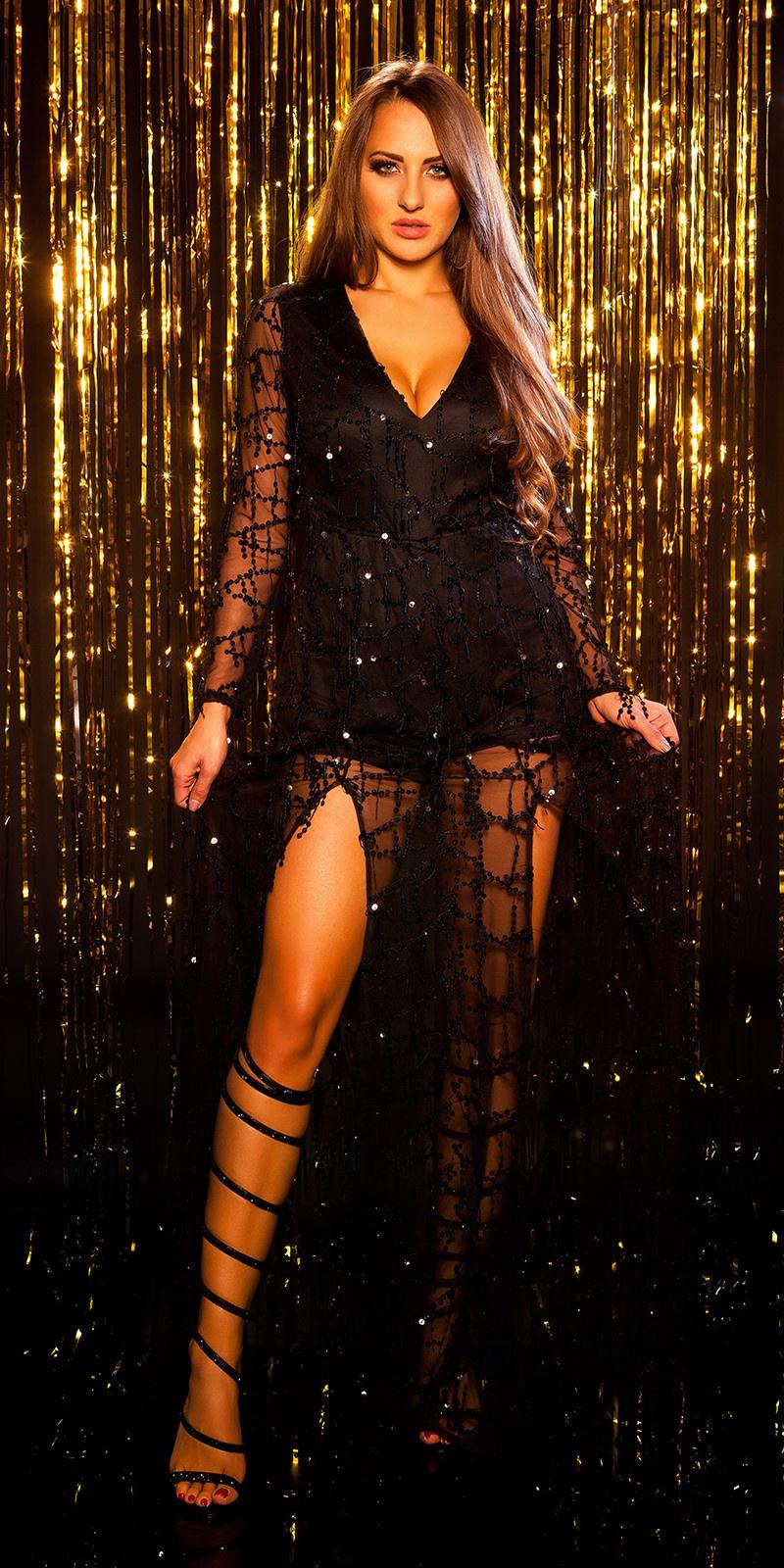Sexy langmouw jumpsuit met pailletten franjes zwart