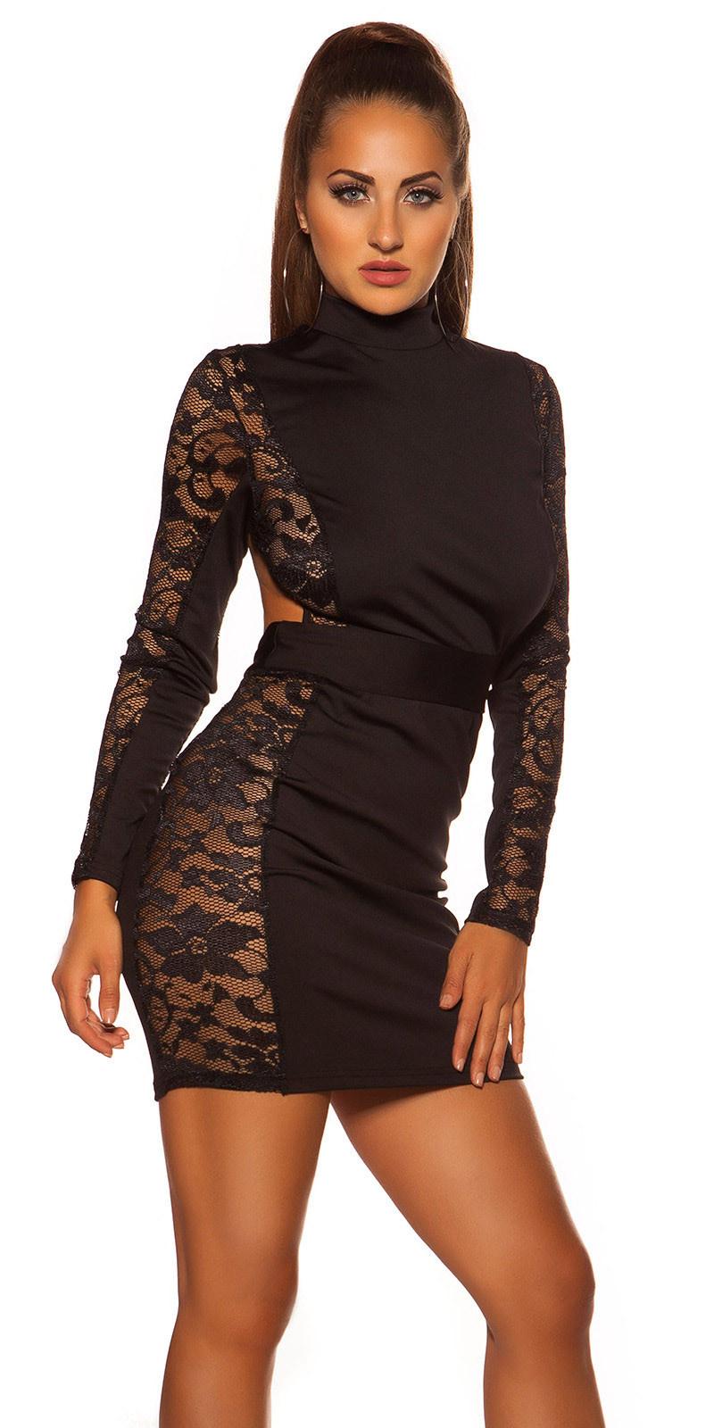 Sexy halter mini jurkje met kant zwart