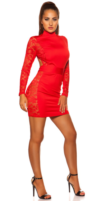 Sexy KouCla Neck mini dress with lace Red