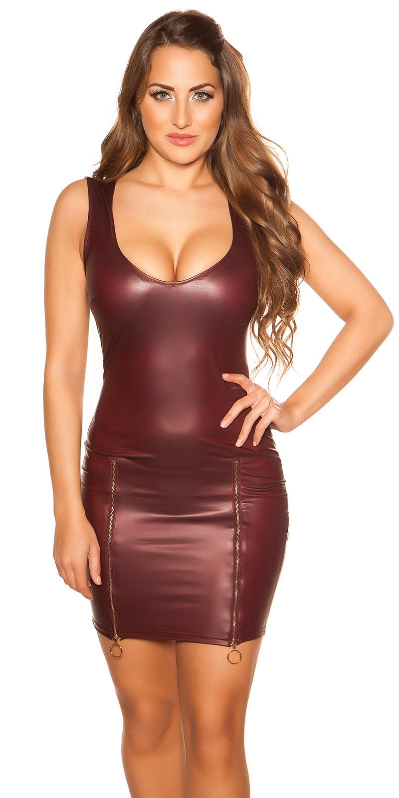 Sexy wetlook mini jurkje met ritssluitingen bordeaux
