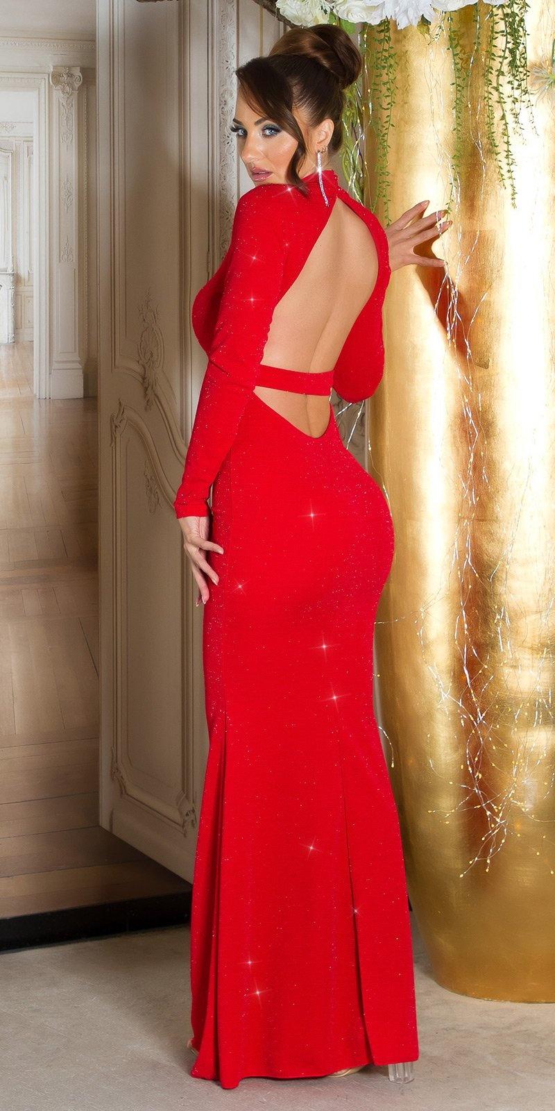 Sexy rode-loper halter avondjurk wauw rood