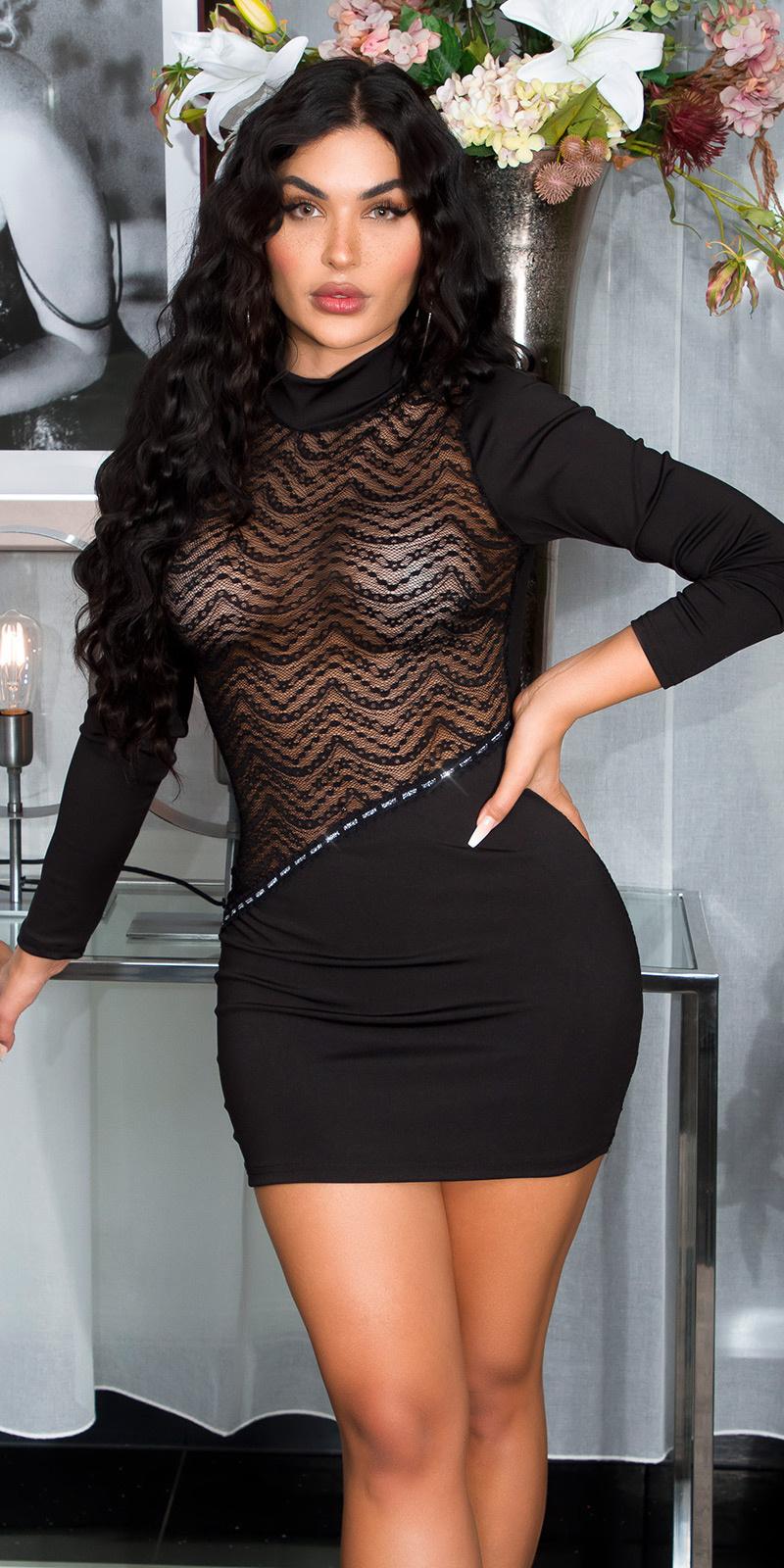Sexy high-halter mini jurkje met kant zwart