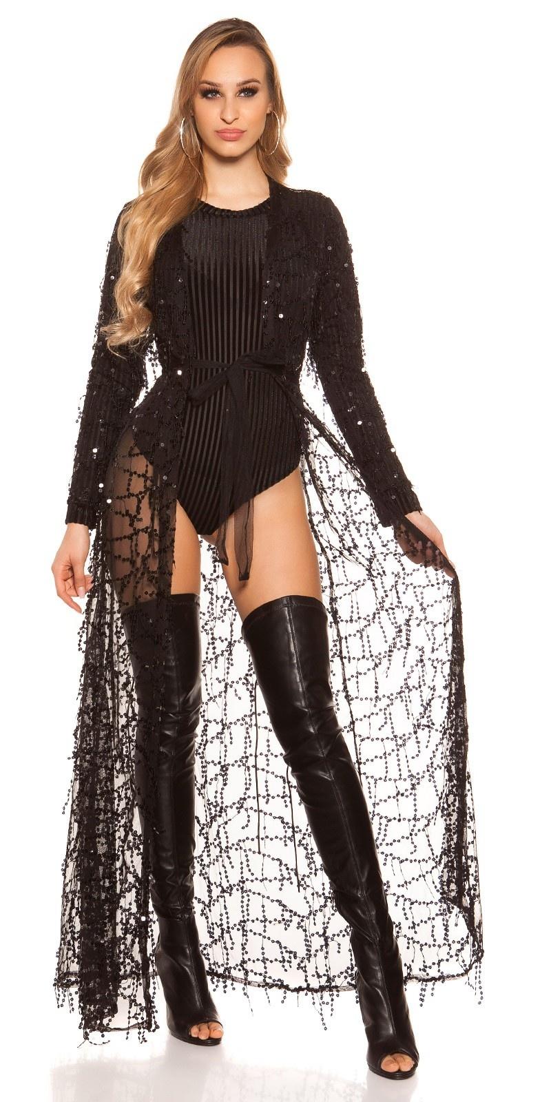 Rode-loperlook! sexy chiffon feest uitgaans mantel zwart