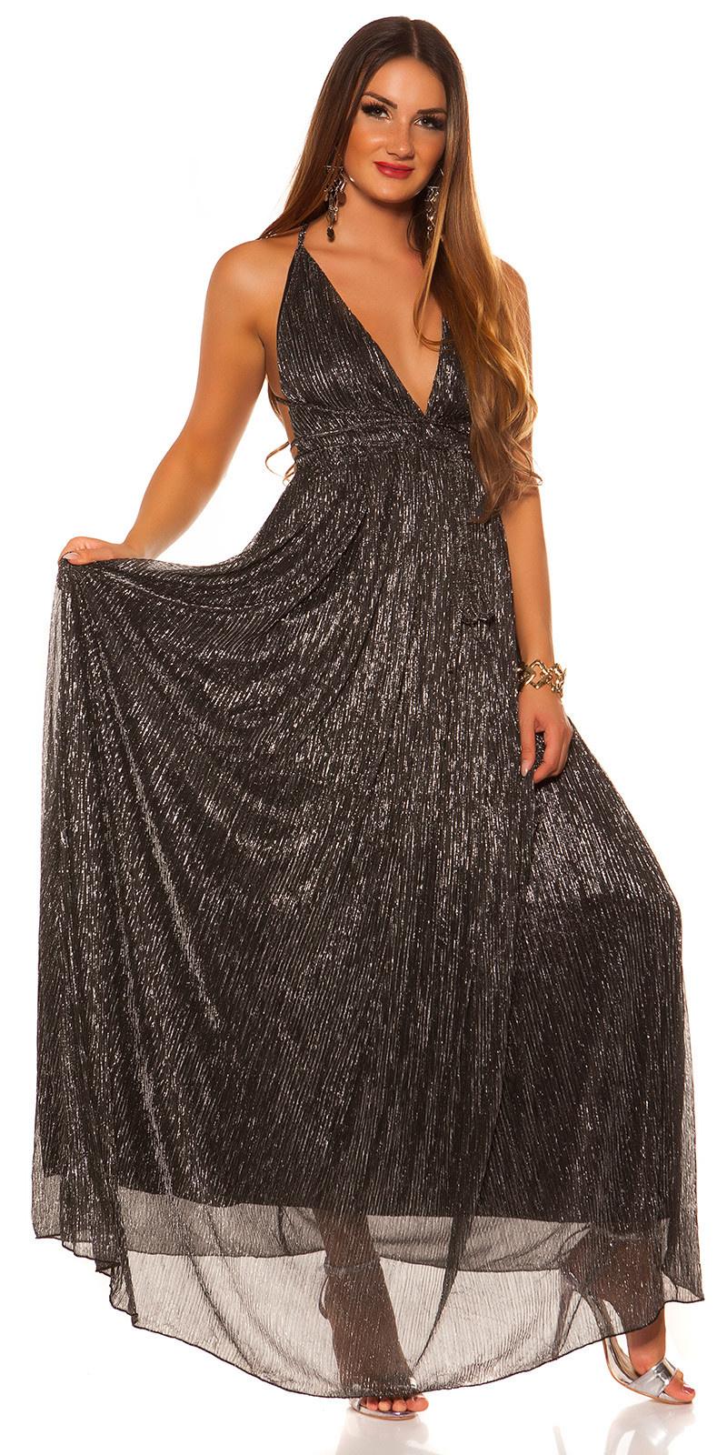 Rode-loperlook! sexy halter lange jurk zwartzilver