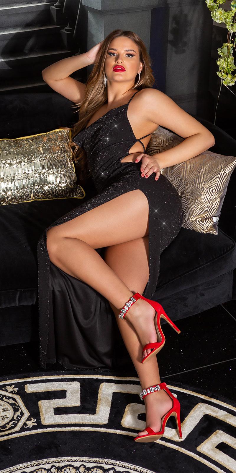 Sexy maxi avondjurk met wauw rug-opening zwartzilver