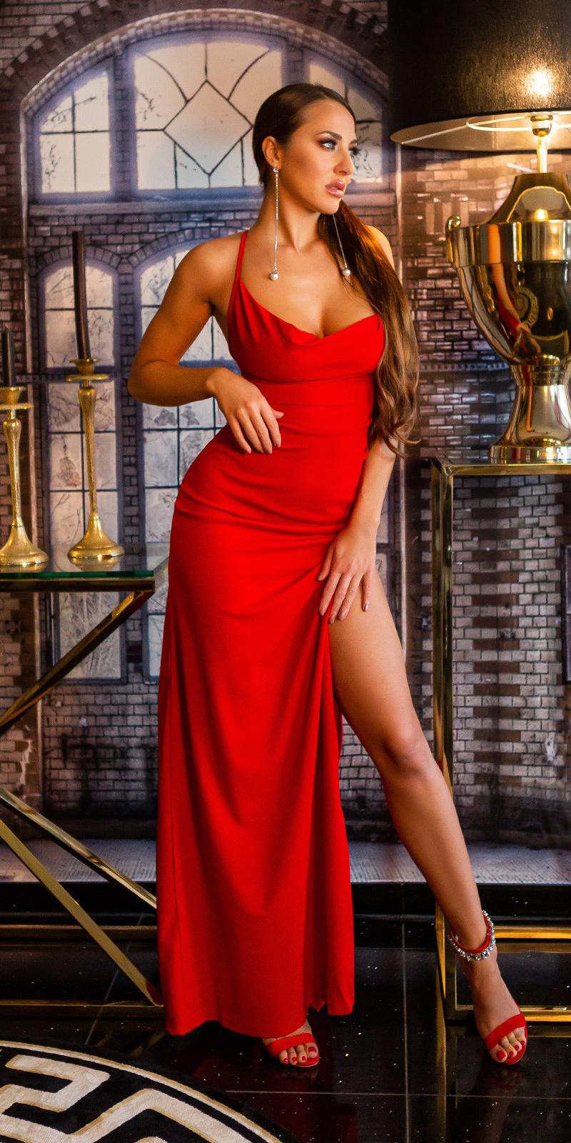 Sexy maxi avondjurk met wauw rug-opening rood