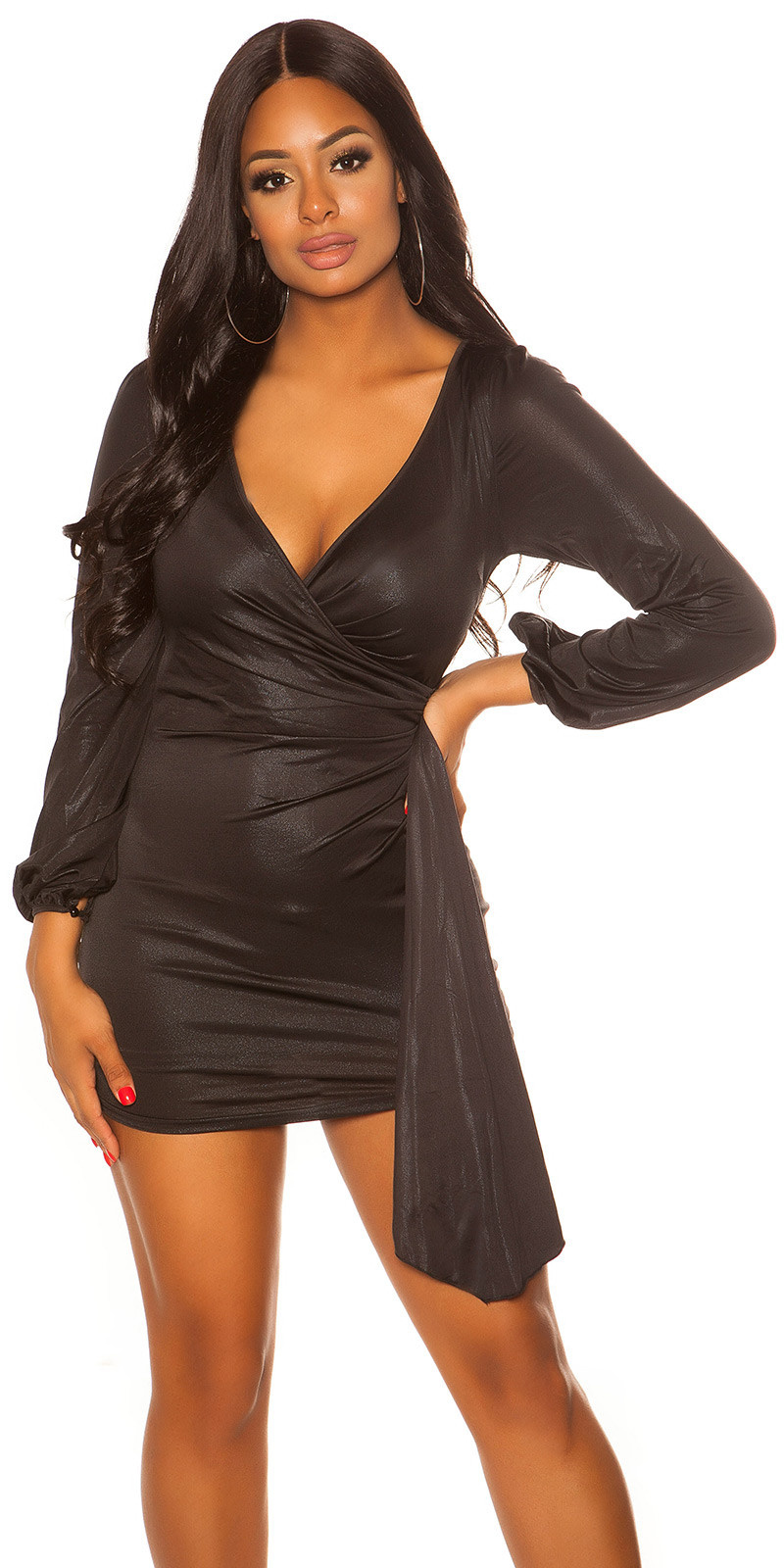 Sexy langarm glitter mini jurkje zwart