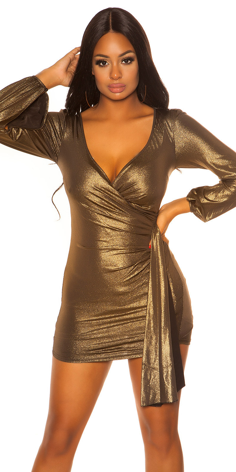 Sexy langarm glitter mini jurkje goud