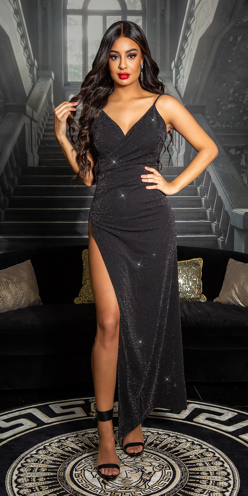 Sexy glitter Maxi jurk met diepe split zwartzilver