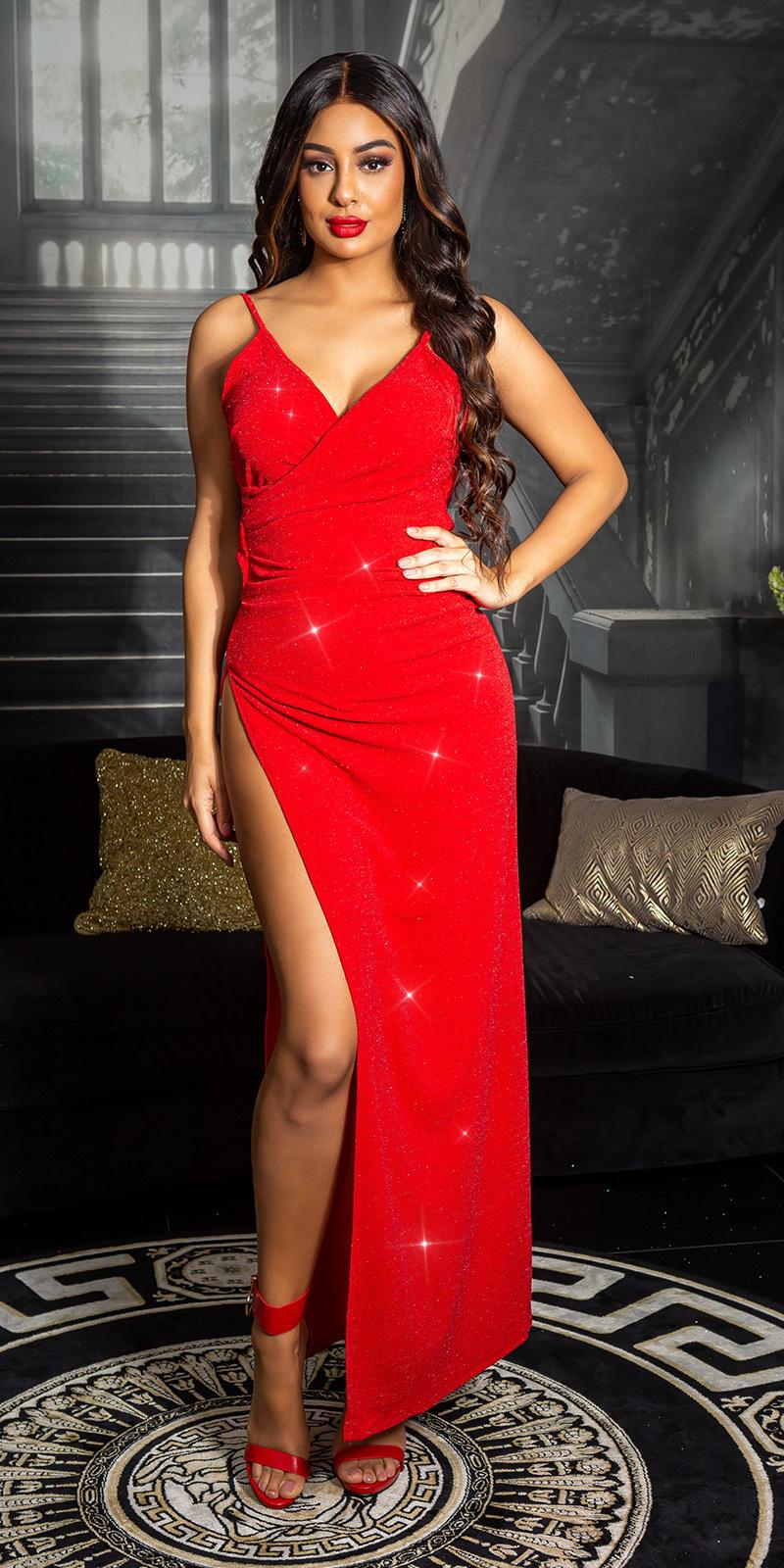 Sexy glitter Maxi jurk met diepe split Roodzilver