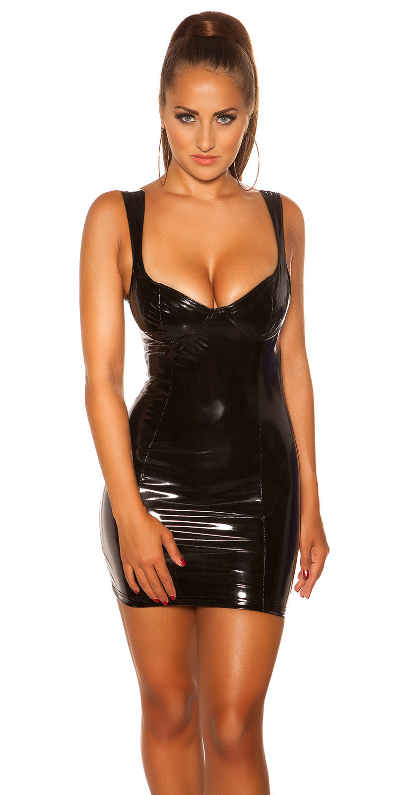 Sexy KouCla Mini Dress Latex Look Black
