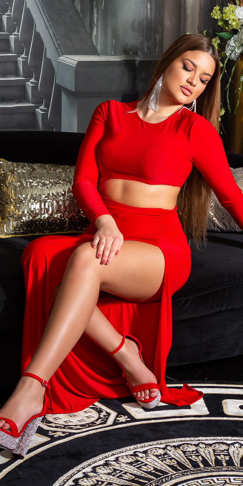 Sexy feest uitgaans jurk met xxl split rood