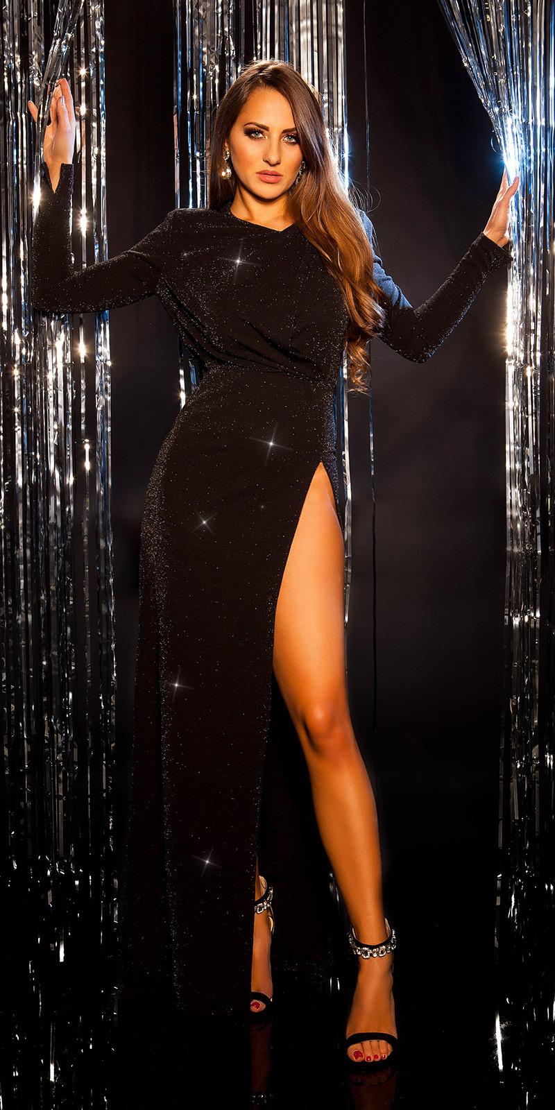 Sexy rode-loper avond jurk met schoduer pads zwartzilver