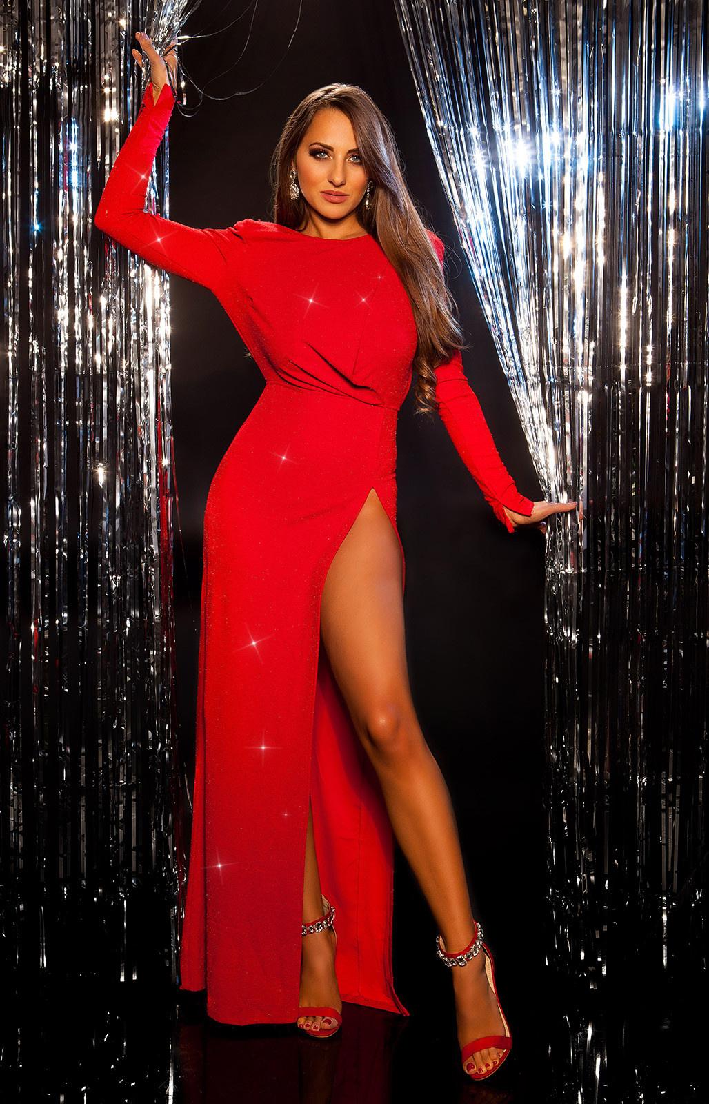 Sexy rode-loper avond jurk met schoduer pads roodzilver