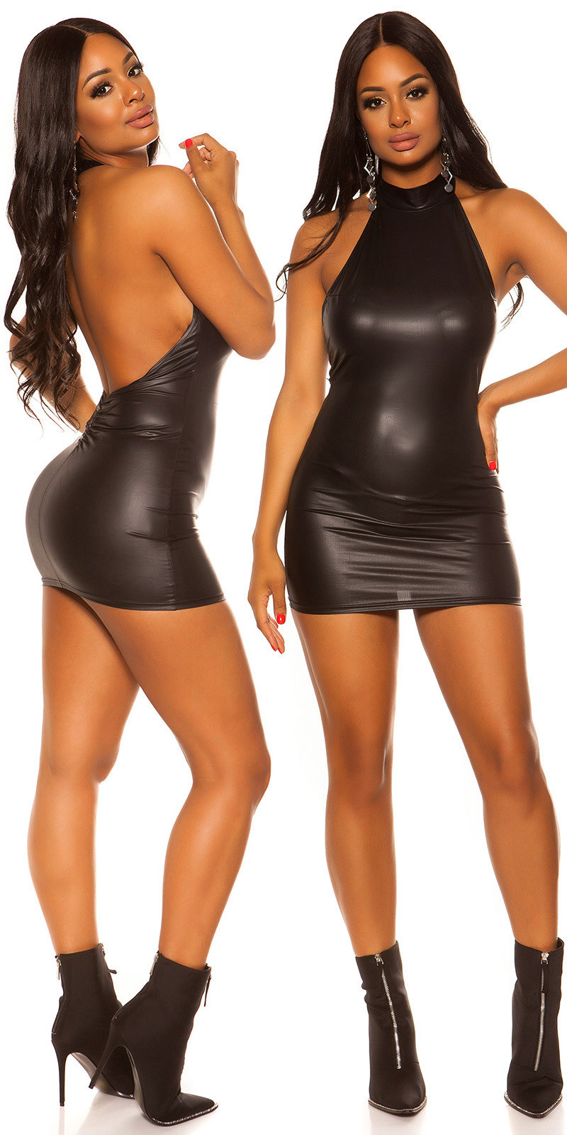 Sexy KouCla Wetlook Neck Minidress Black