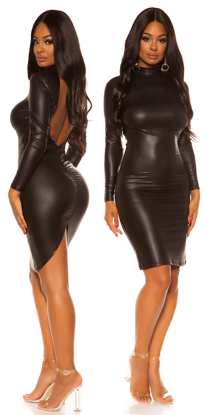 Sexy KouCla Wetlook Mini dress with sexy back Black