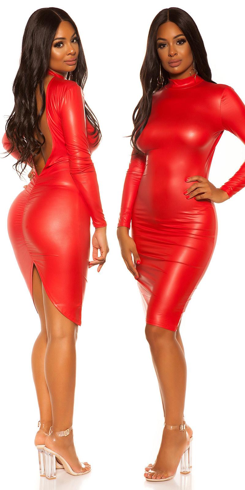 Sexy wetlook mini jurkje met sexy rug rood