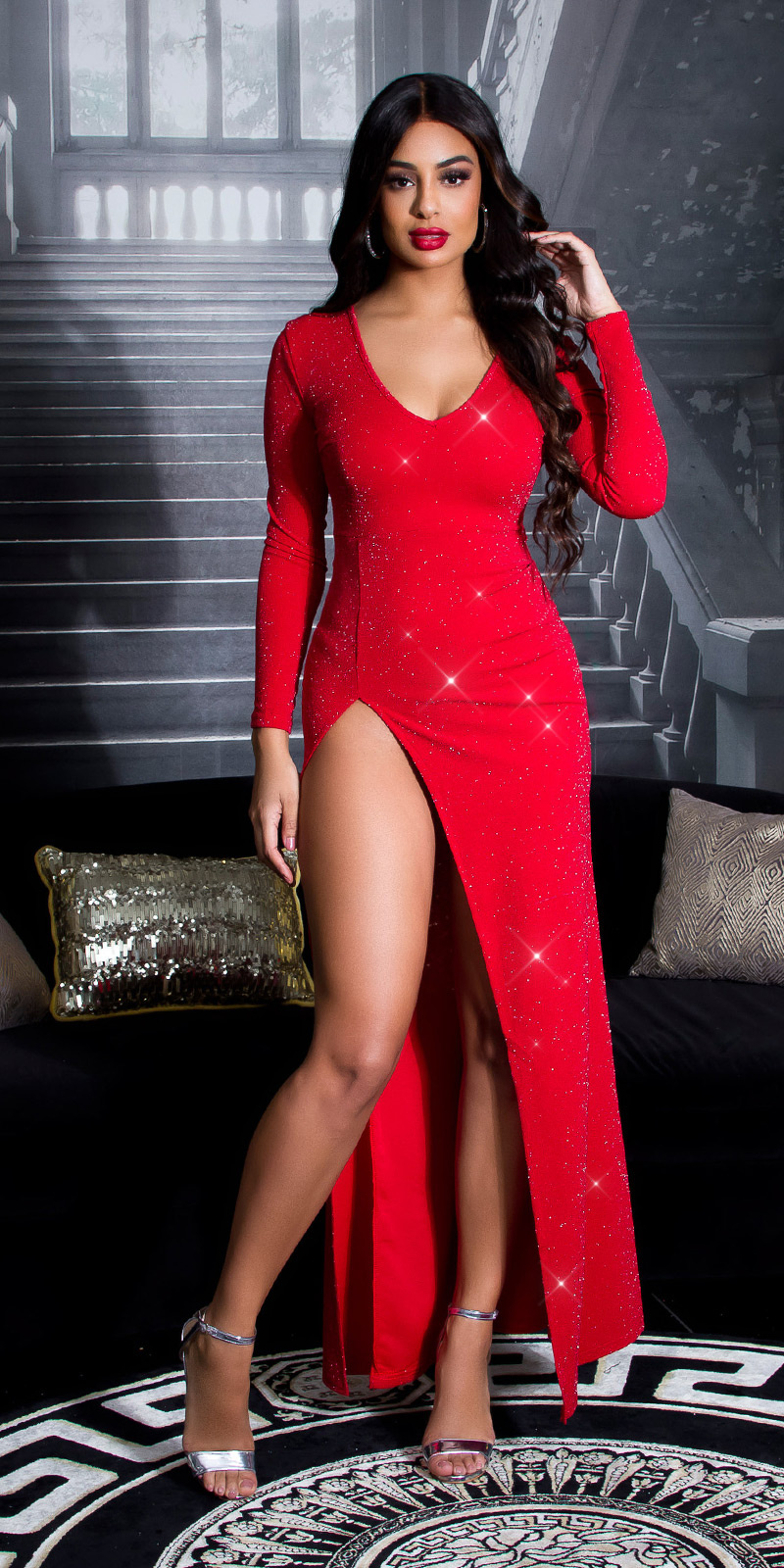 Sexy rode-loper glitter maxi jurk met split roodzilver
