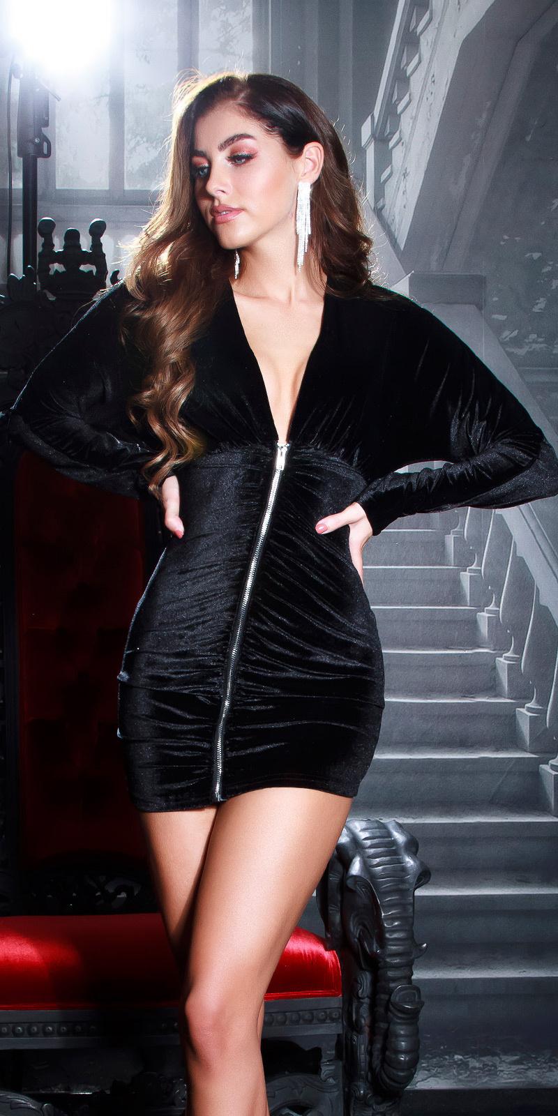 Sexy fluweel jurk met ritssluiting zwart