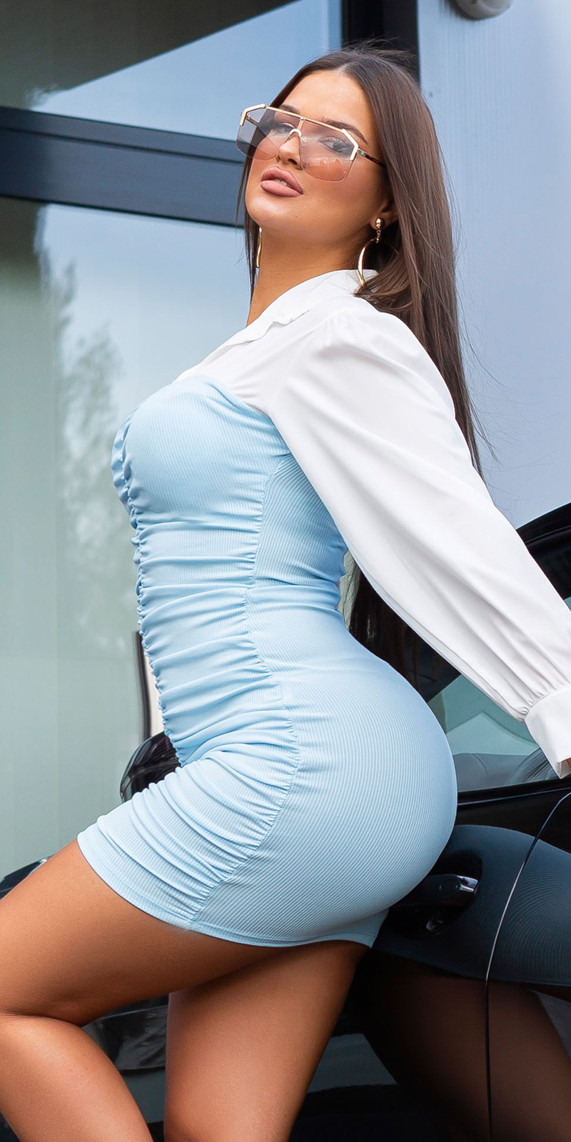 Sexy ruffled bi-color 2in1 mini jurkje blauw