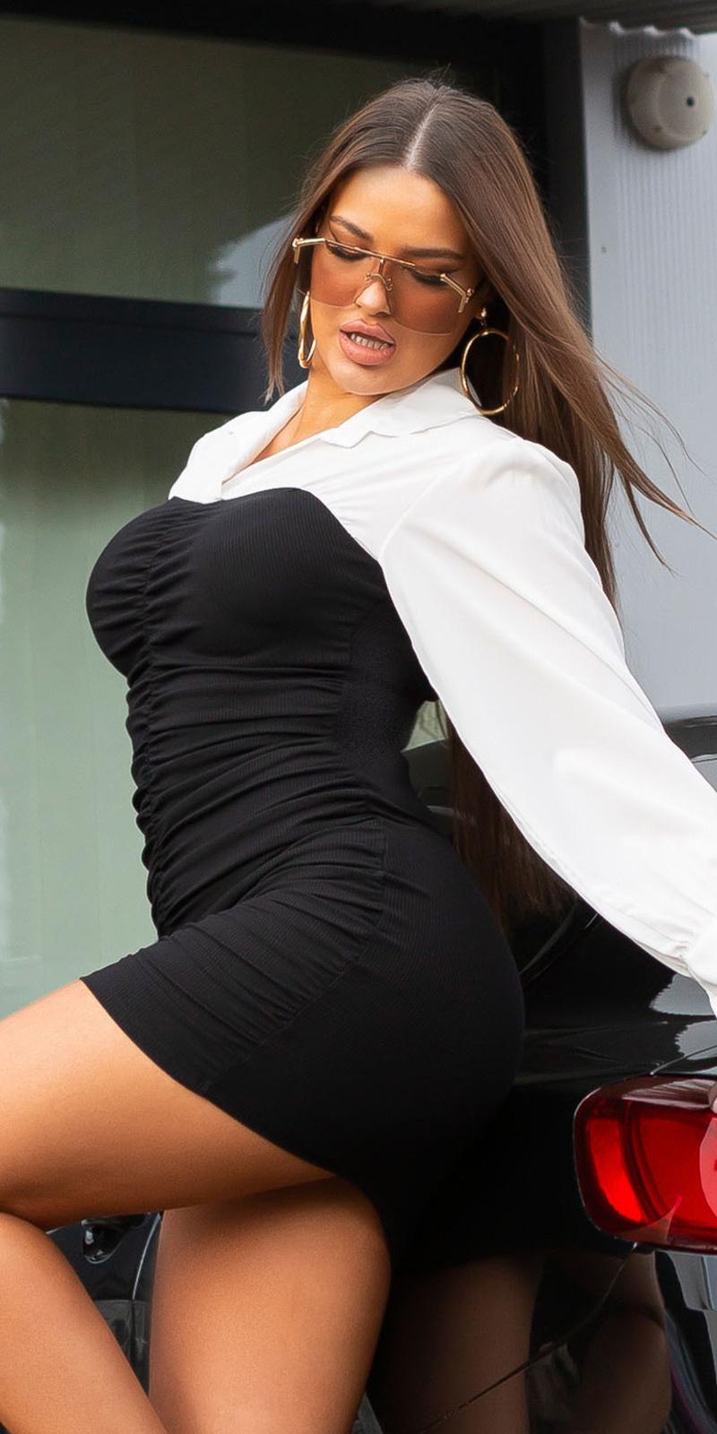 Sexy ruffled bi-color 2in1 mini jurkje zwart