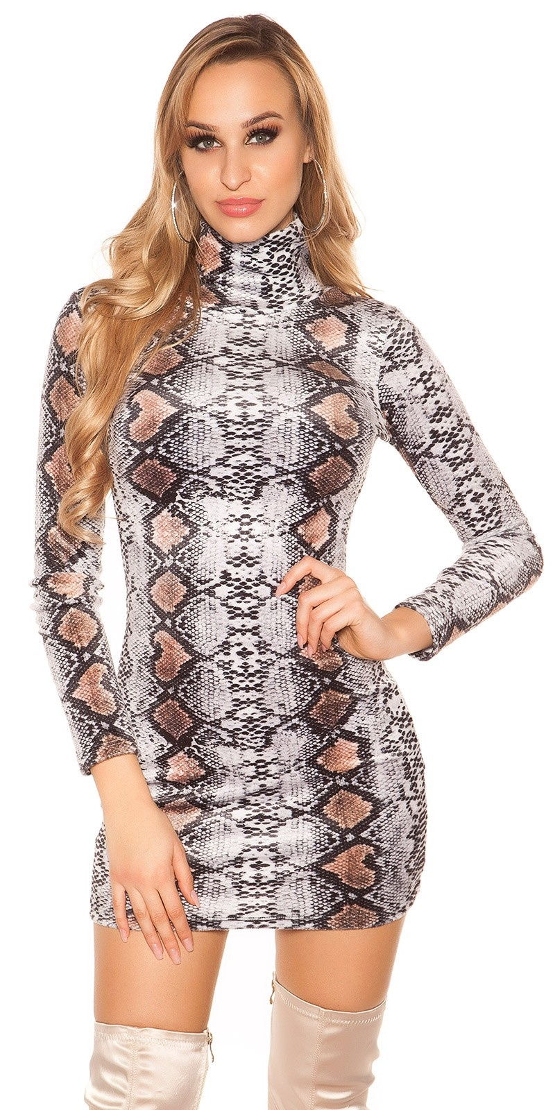 Sexy Turtleneck Long pulloverMini dress Snake