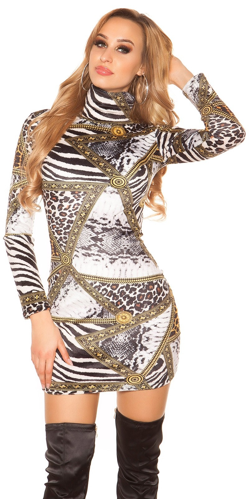 Sexy Turtleneck Long pulloverMini dress Zebra