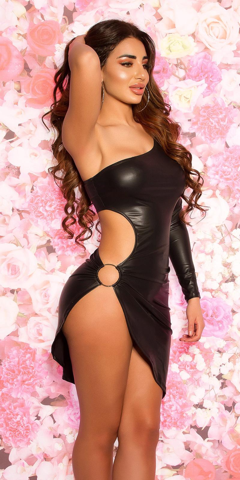 Sexy one arm wetlook mini jurkje zwart