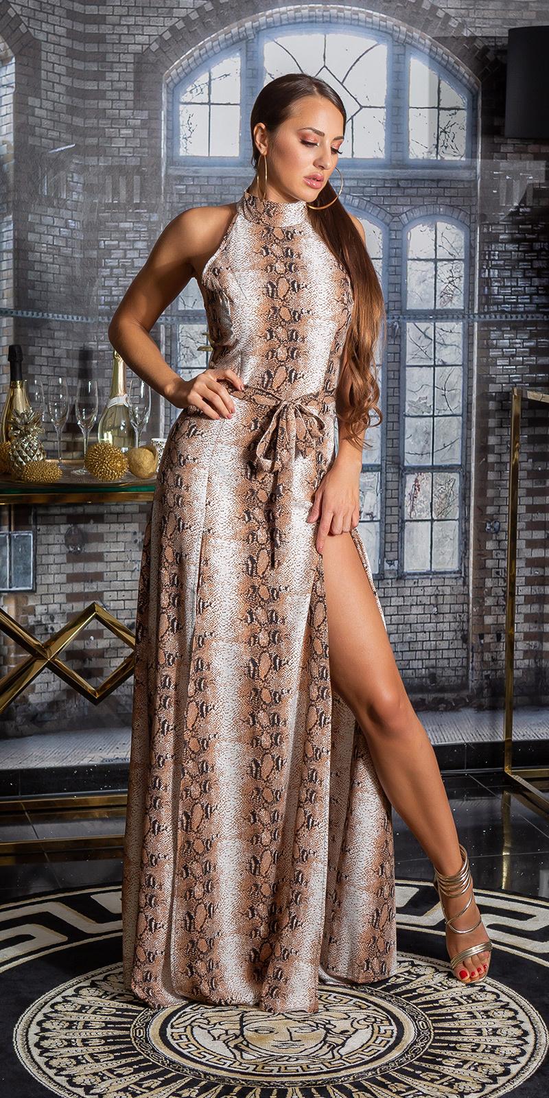 Sexy maxi halter-jurk met dieren-print en riem