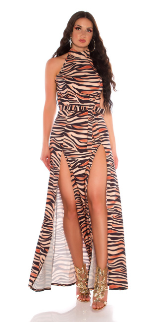 Sexy maxi neck-dress with animalprint and belt Animal