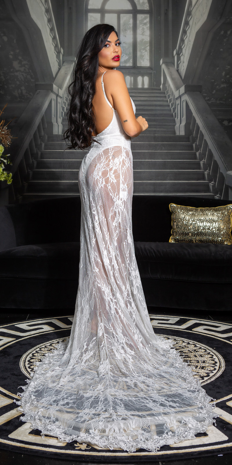 Soo seductive! open rug kant red-carpet jurk wit