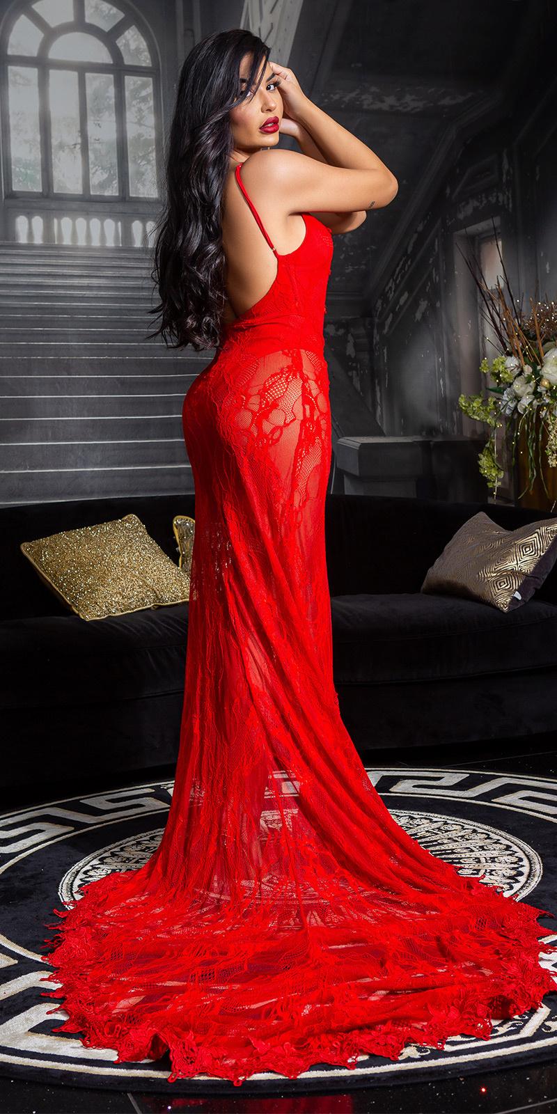 Soo seductive! open rug kant red-carpet jurk rood