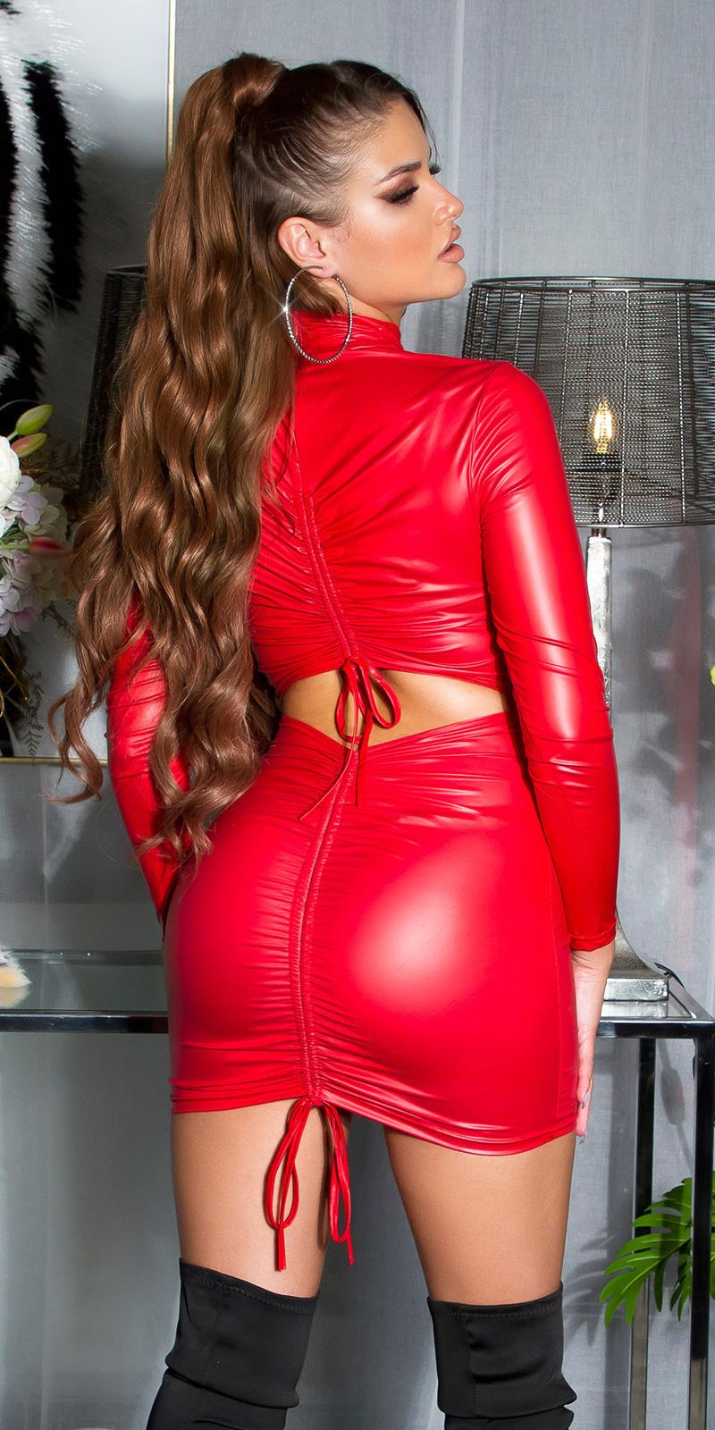 Sexy ruffled wet-look jurk rood