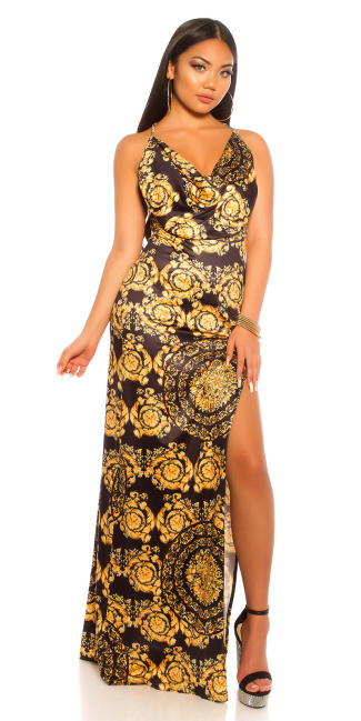 Sexy Maxi Dress With Print Blackyellow