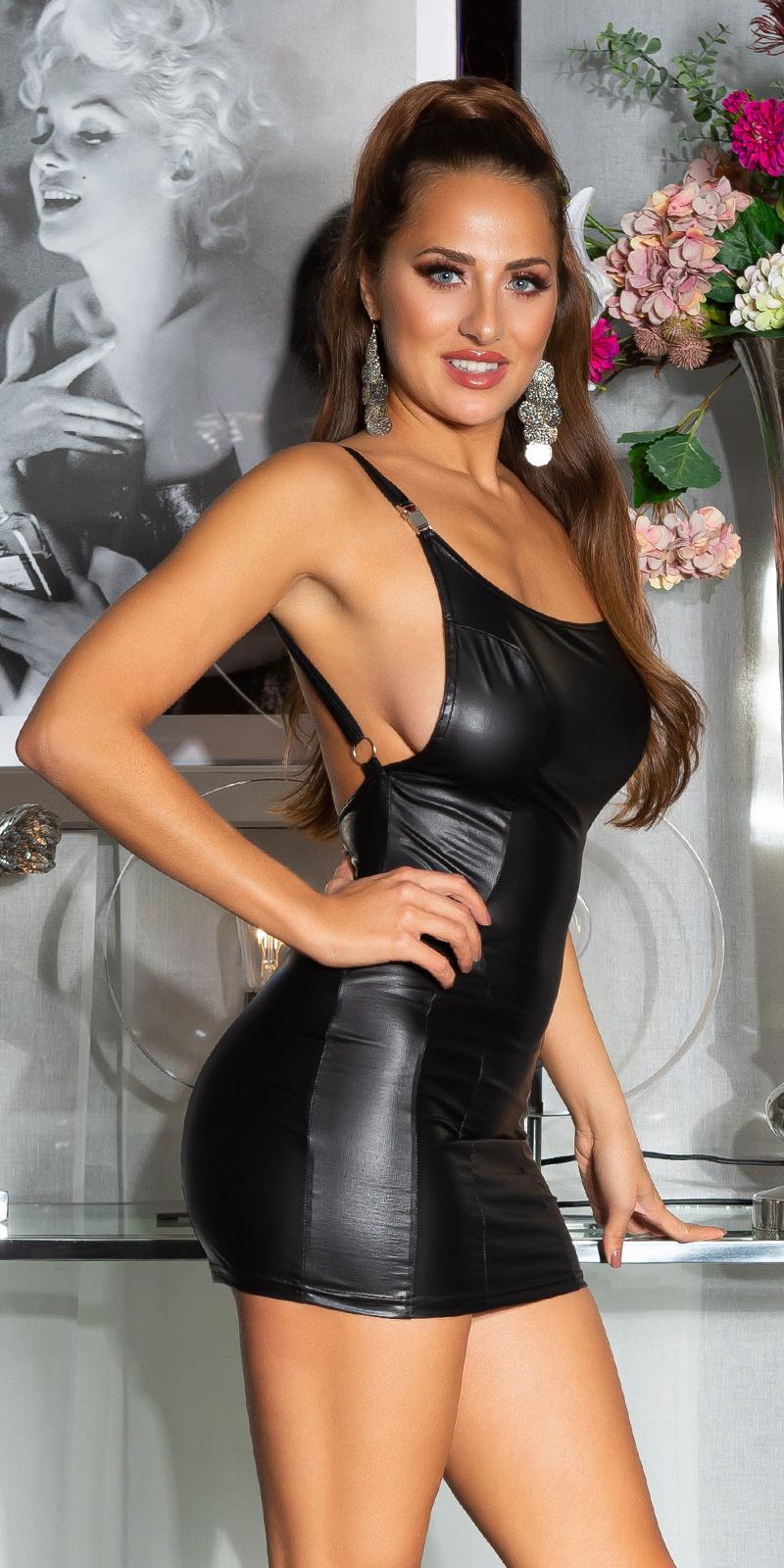 Sexy latex-look open rug mini jurkje zwart