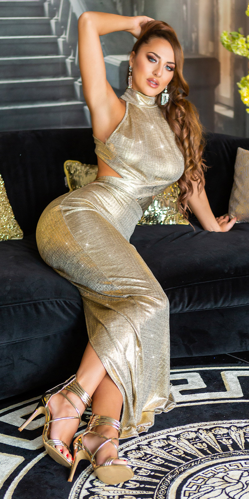 Sexy open rug maxijurk goud