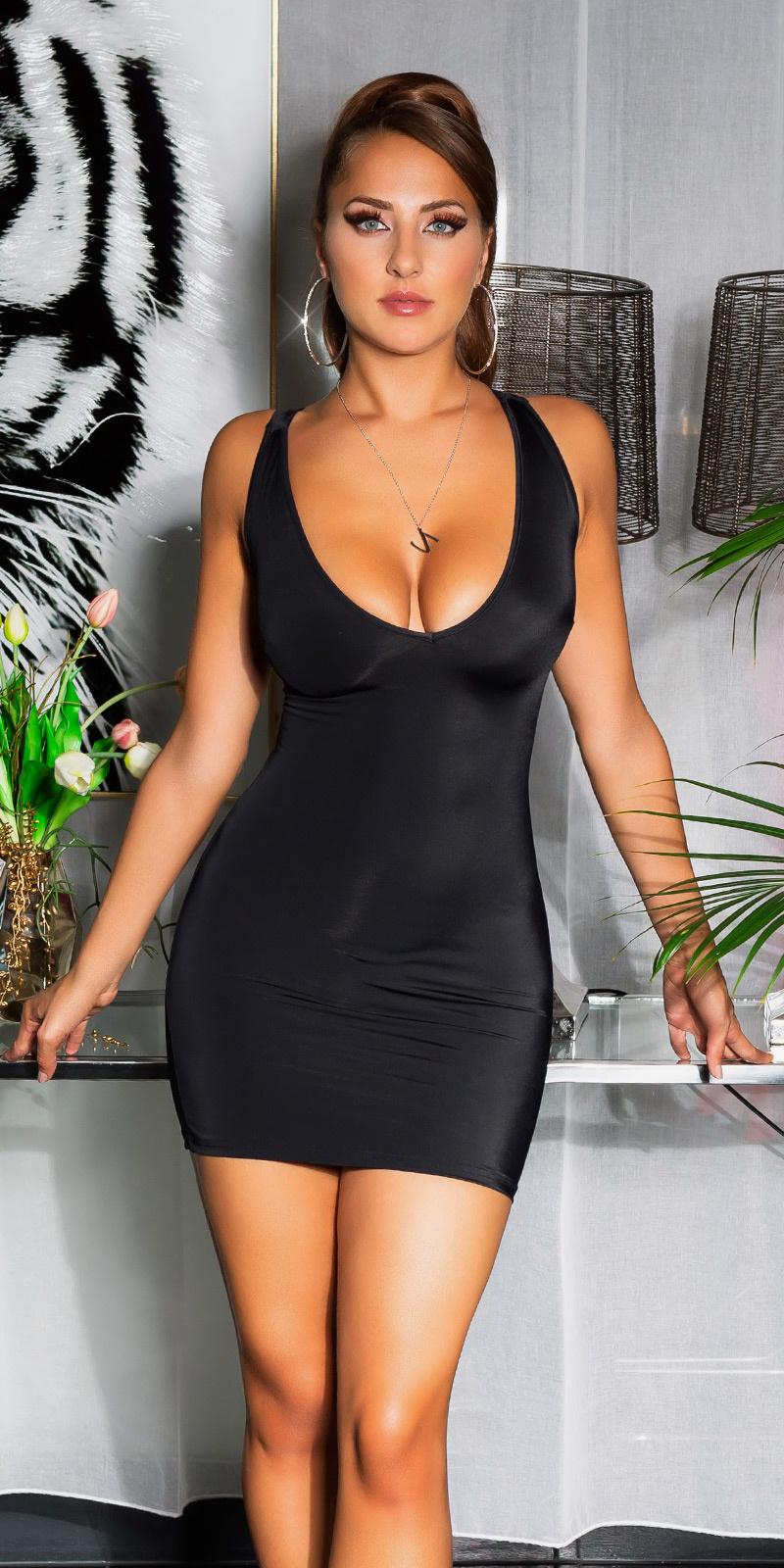 Sexy open rug mini jurkje met veter zwart