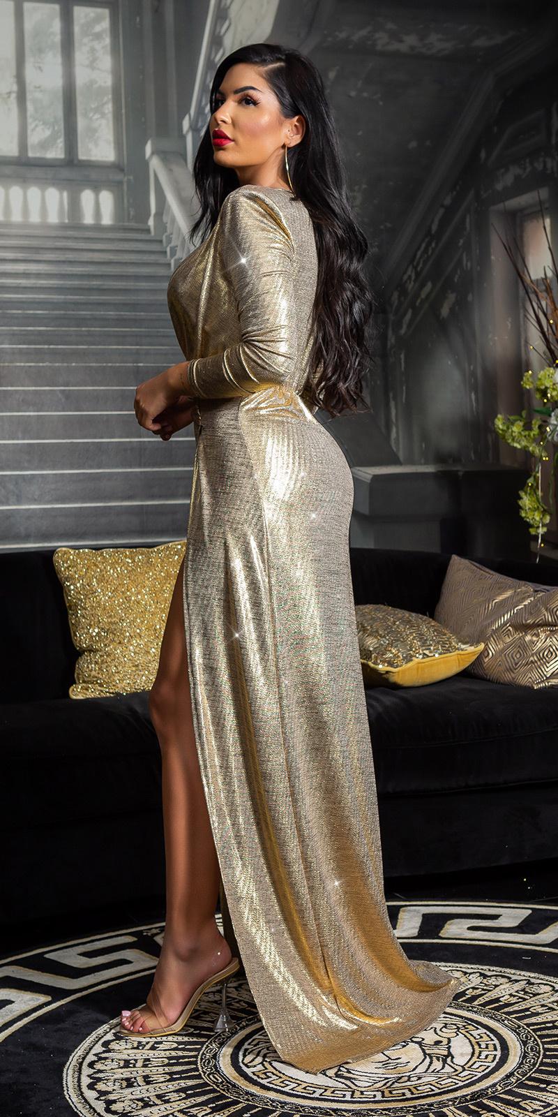 Sexy golden girl rode-loper jurk goud