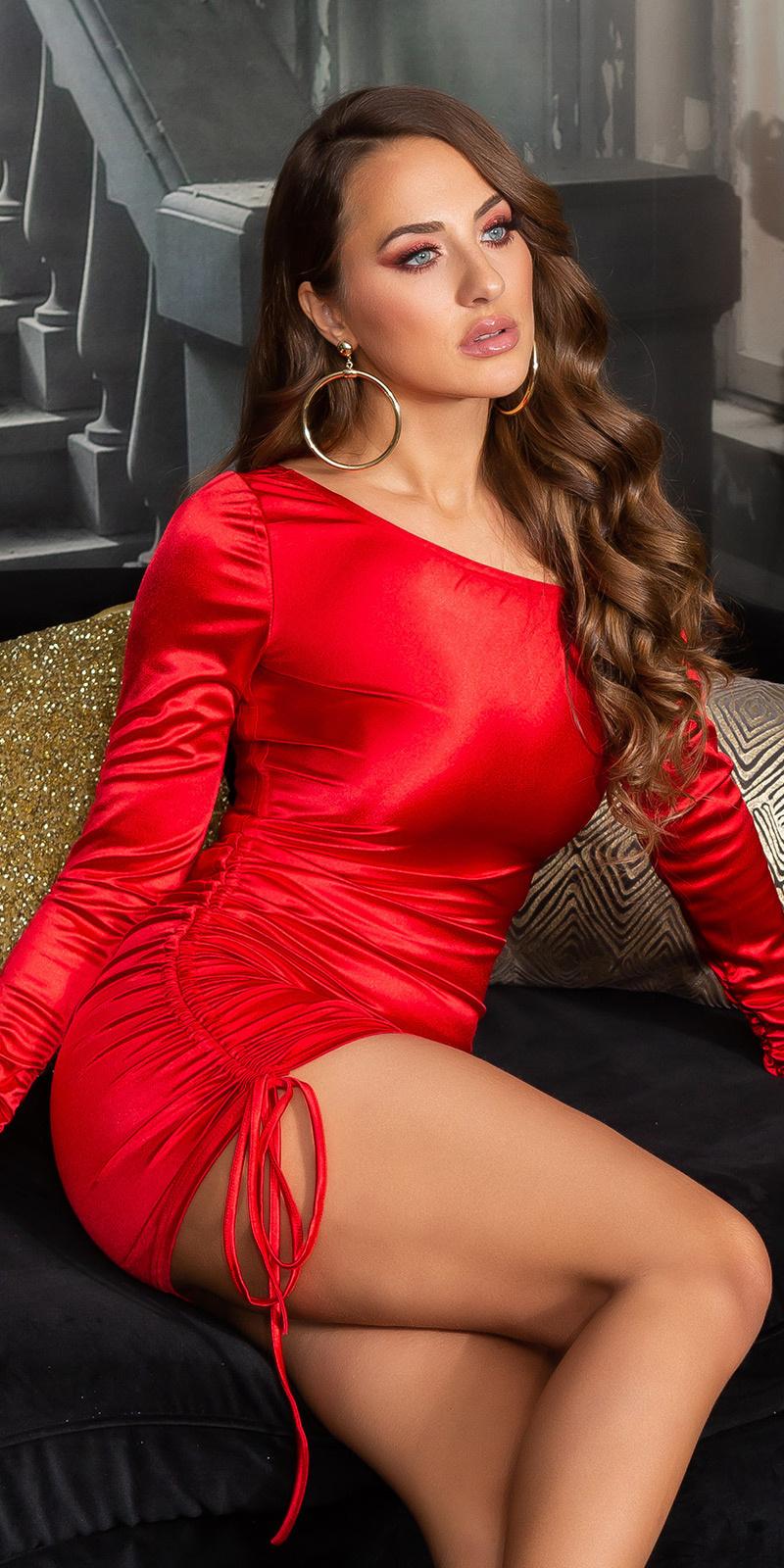 Sexy satijn-look een-schouder mini jurkje rood