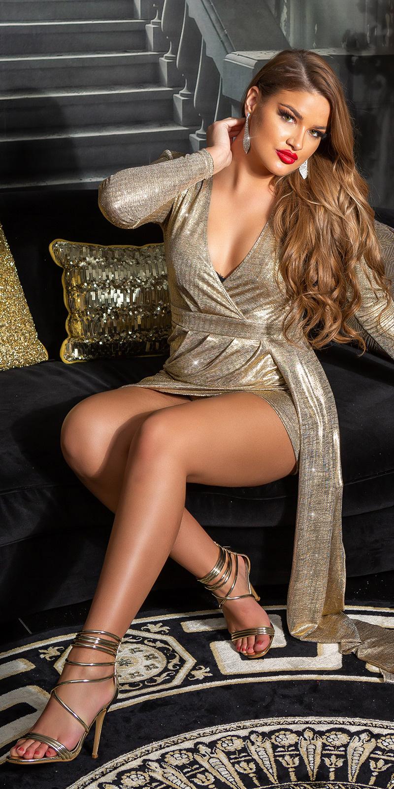 Sexy feest uitgaansjurk v-halter goud