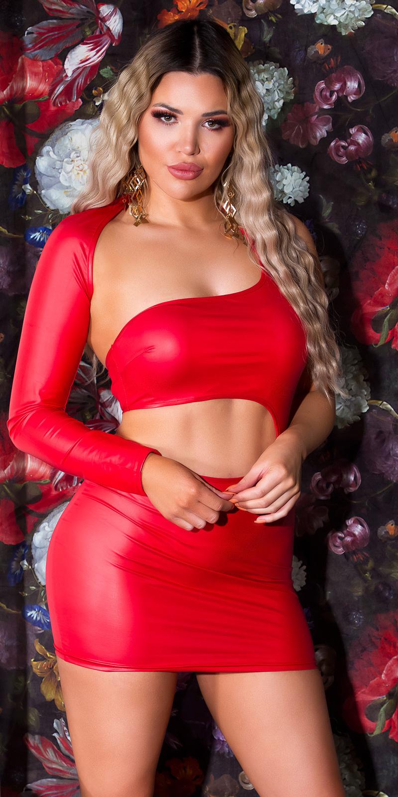 Sexy wetlook een-schouder jurk rood