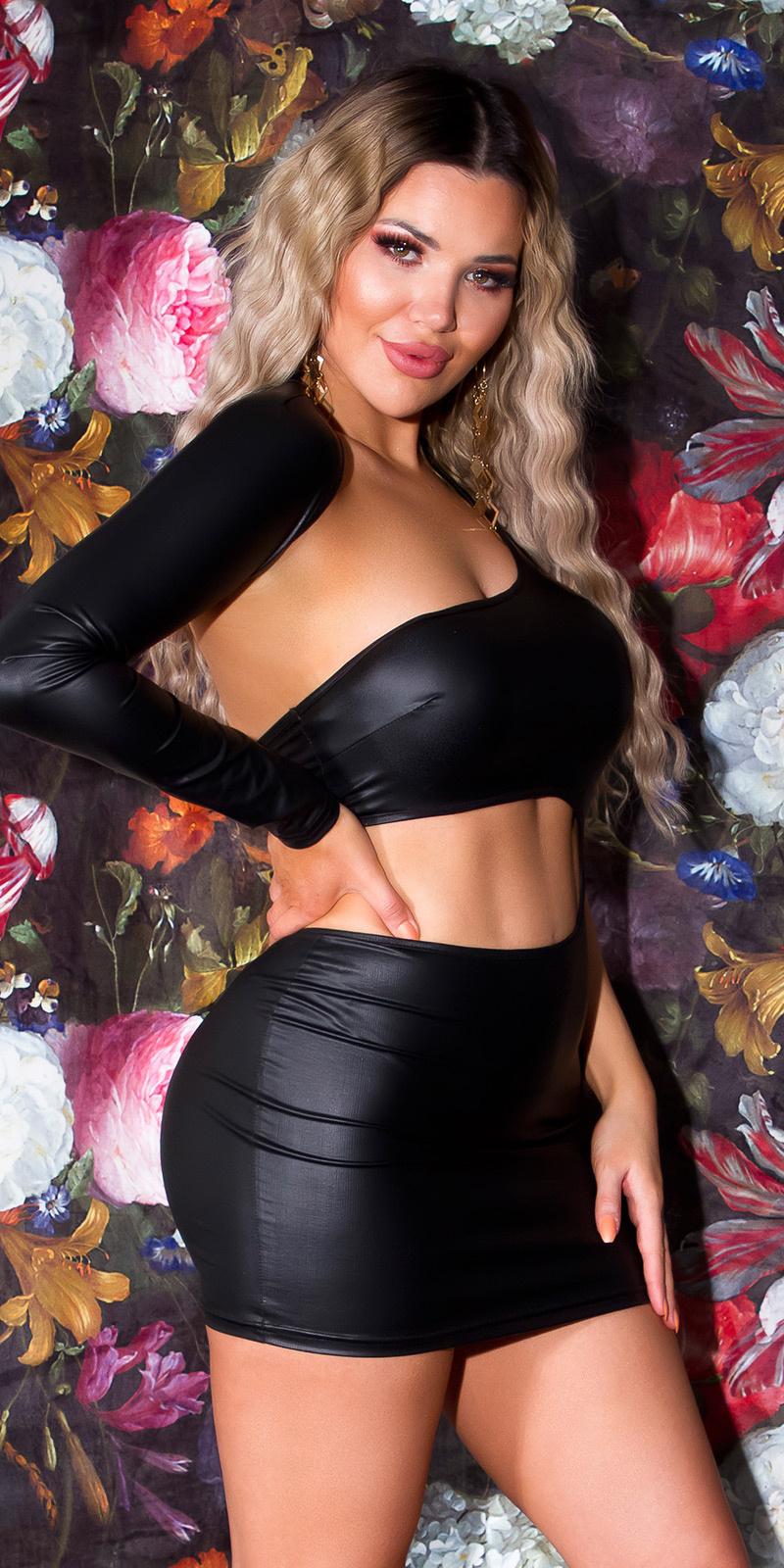Sexy wetlook een-schouder jurk zwart