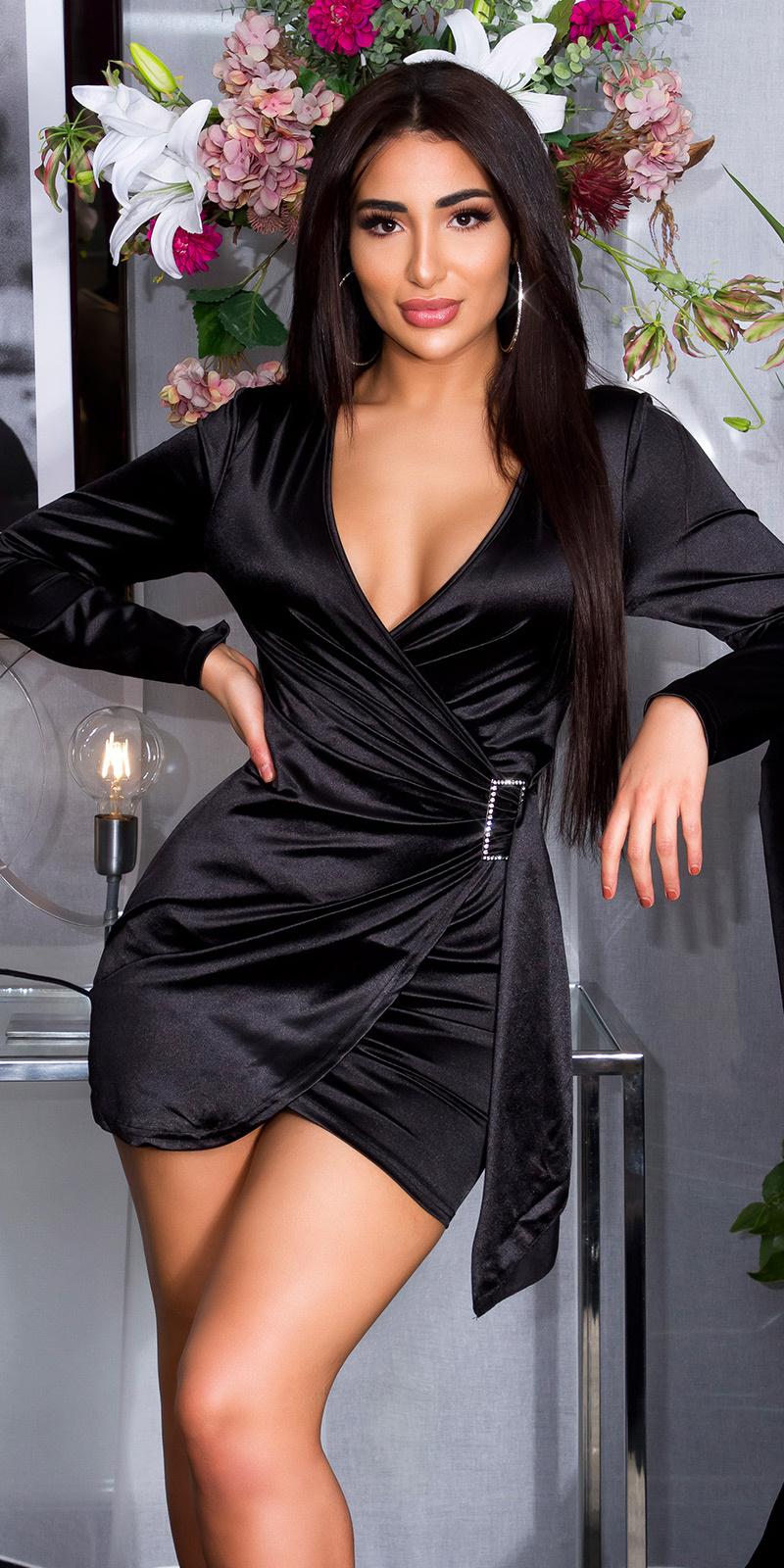 Sexy satijnen mini jurkje in wikkel-look zwart