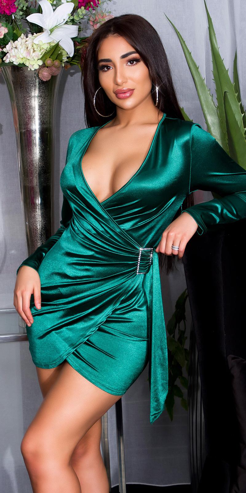 Sexy satijnen mini jurkje in wikkel-look groen