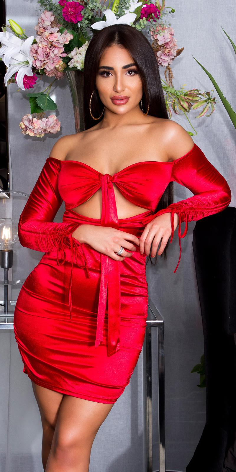 Sexy ruffled off-shoulder satijnen jurk rood
