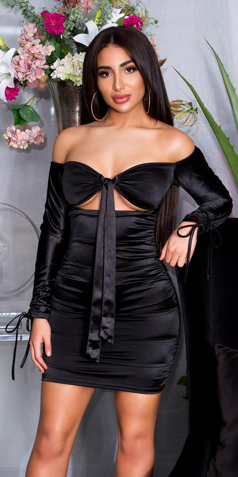 Sexy ruffled off-shoulder satijnen jurk zwart
